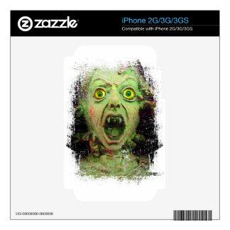 Horror espeluznante del verde del zombi del iPhone 3G skin