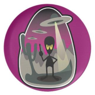 ¡Horror extranjero de la flota del UFO de la invas Platos Para Fiestas