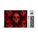Horror fanged gótico rojo de Halloween del cráneo