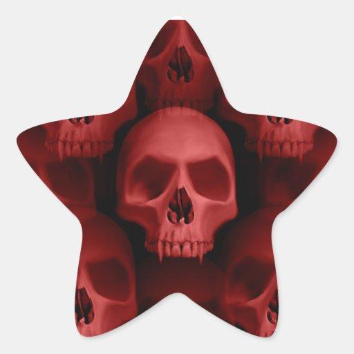 Horror fanged gótico rojo de Halloween del cráneo Pegatina Forma De Estrella