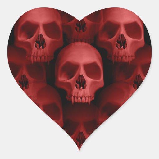 Horror fanged gótico rojo de Halloween del cráneo Pegatina De Corazon