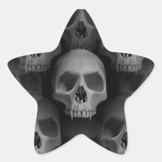 Horror fanged mal gótico de Halloween del cráneo Pegatina En Forma De Estrella