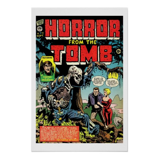 Vintage Comic Book Cover Posters : Horror from tomb vintage comic book cover poster zazzle