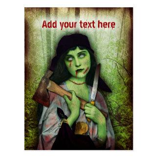 Horror gótico de Halloween del chica del zombi Postal