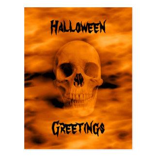 Horror gótico del cráneo del firey de los saludos tarjetas postales