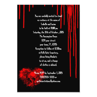 Horror Heart Skull Goth Wedding 5x7 Paper Invitation Card