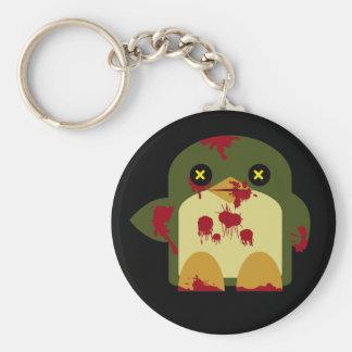 Horror horrible del zombi del pingüino de Kawaii Llavero Redondo Tipo Pin