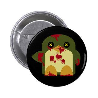 Horror horrible del zombi del pingüino de Kawaii Pin Redondo De 2 Pulgadas