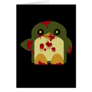 Horror horrible del zombi del pingüino de Kawaii Tarjeta Pequeña