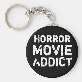 Horror Movie Addict Black Keychain