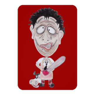 Horror Movie Butcher Funny Caricature Invitation