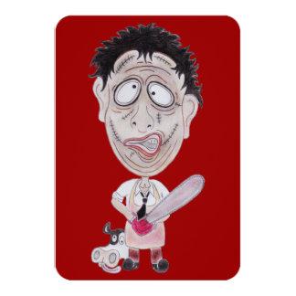 Horror Movie Butcher Funny Caricature Invitation 9 Cm X 13 Cm Invitation Card
