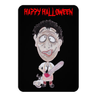 Horror Movie Happy Halloween Caricature Card Announcements