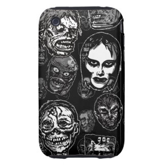 Horror Movie Monster Masks (b&w) Tough iPhone 3 Case