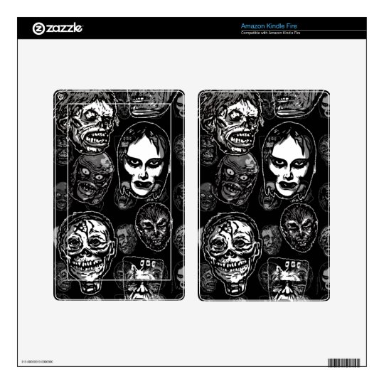 Horror Movie Monster Masks (b&w) Decals For Kindle Fire