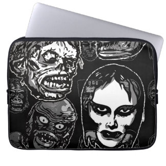 Horror Movie Monster Masks (b&w) Laptop Computer Sleeve