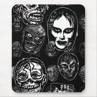 Horror Movie Monster Masks (b&w) Mouse Pad