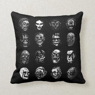 Horror Movie Monster Masks (b&w) Throw Pillow
