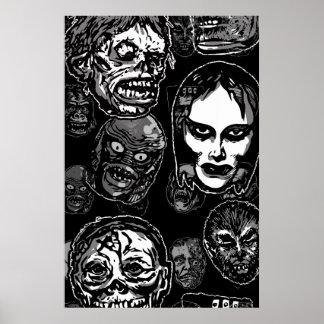 Horror Movie Monster Masks (b&w) Posters