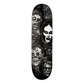 Horror Movie Monster Masks (b&w) Skateboard