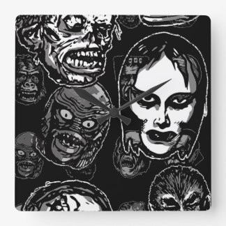 Horror Movie Monster Masks (b&w) Square Wall Clock