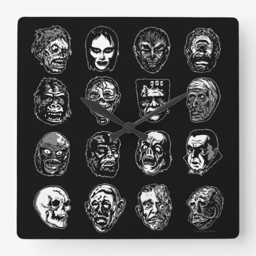 Horror Movie Monster Masks (b&w) Square Wallclocks