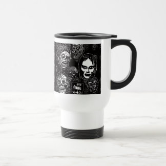 Horror Movie Monster Masks (b&w) Travel Mug