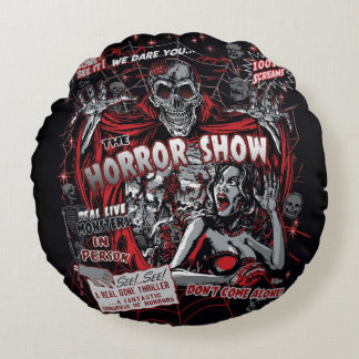 Horror movie Monsters show spookshow Round Pillow