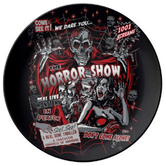 Horror movie Monsters spook show Porcelain Plate