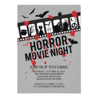 Horror Movie Night Filmstrip Halloween Party Card