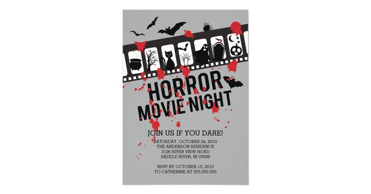 Horror Movie Night Filmstrip Halloween Party Card   Zazzle.com