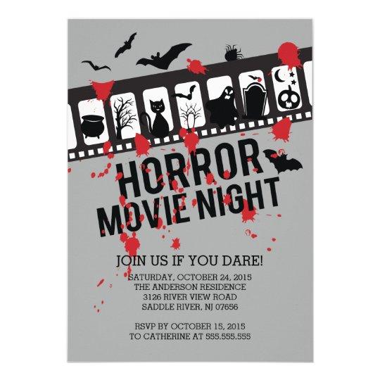 horror movie night filmstrip halloween party invitation zazzle com