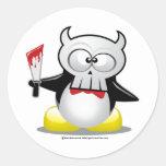 Horror Movie Penguin Round Stickers