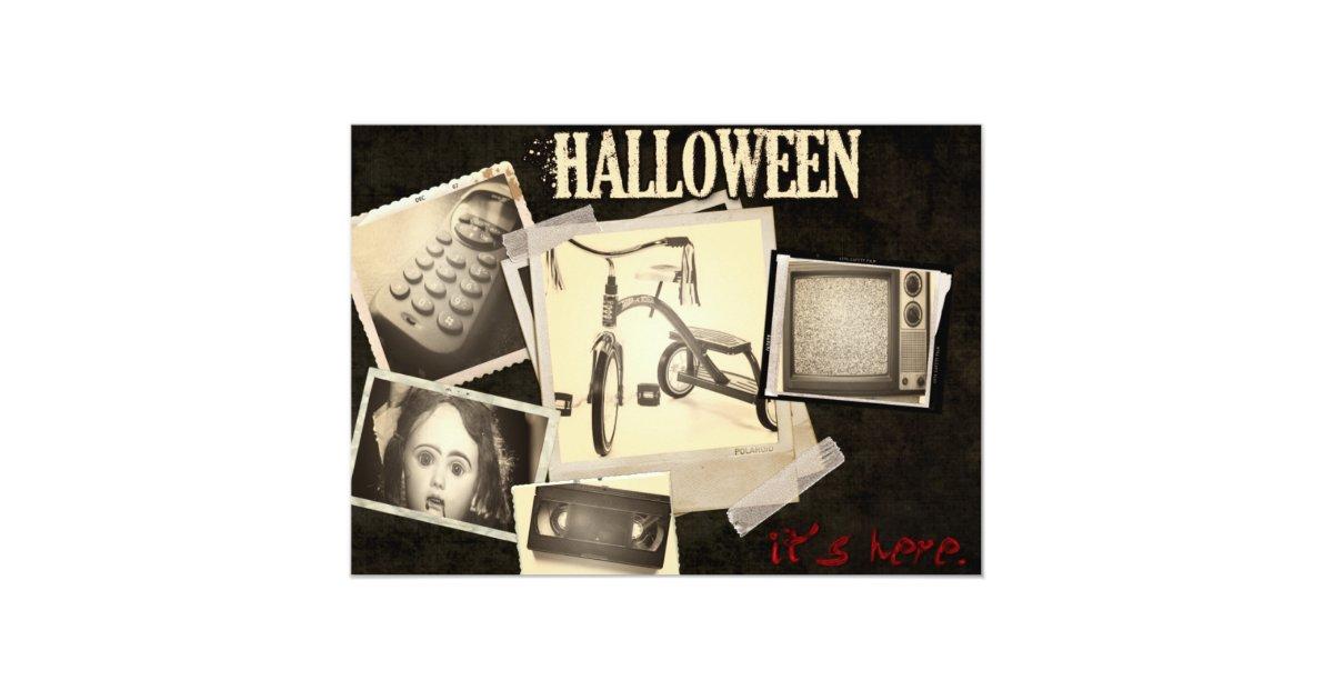 Horror Movie Staples Halloween Party Invitations | Zazzle.com