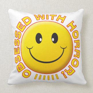 Horror Obsessed Smile Throw Pillows