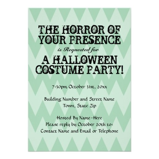 Horror of Your Presence. Green Chevron Halloween Custom Announcements