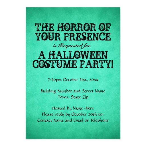 Horror of Your Presence. Green Halloween Party. Announcements
