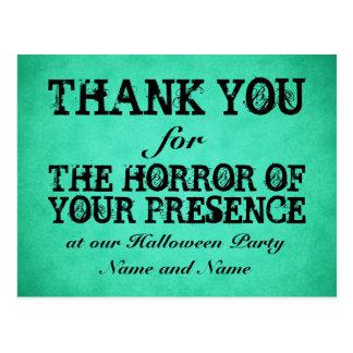 Horror of Your Presence. Green Halloween Thanks Postcard
