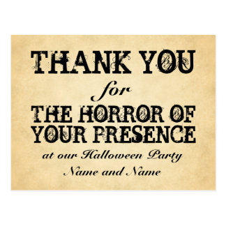 Horror of Your Presence. Halloween Party Favor Postcard