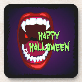 Horror Show Vampire Mouth Sharp White Fangs Coaster
