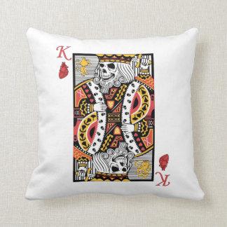 Horror Skeleton King Playing Card Throw Pillows