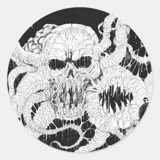 Horror Skull Demon Art Classic Round Sticker