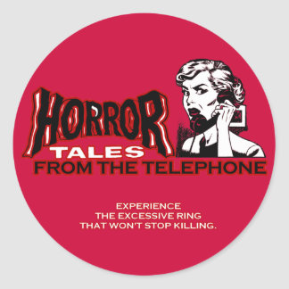 Horror Tales From The Telephone Retro Movie Ad Classic Round Sticker