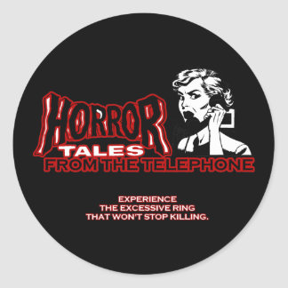 Horror Tales From The Telephone Retro Movie Ad Round Sticker