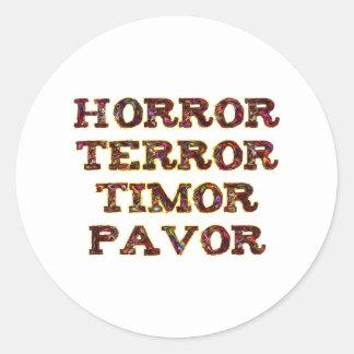 horror terror timor pavor pegatina redonda