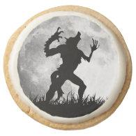 Horror Werewolf Full Moon Transformation Round Sugar Cookie