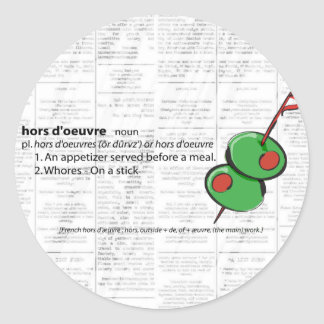 hors d'oeuvres classic round sticker