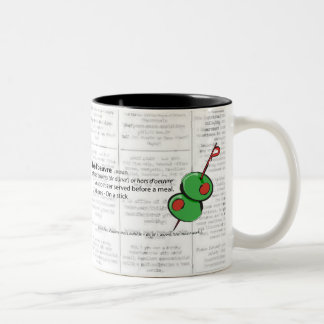 hors d'oeuvres - hors d'oeuvres Two-Tone coffee mug