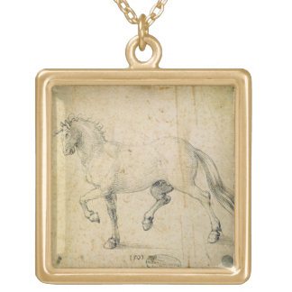 Horse 1503 pen and ink on paper personalized necklace