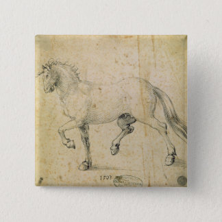 Horse, 1503 (pen and ink on paper) pinback button
